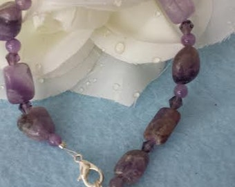 Semi-precious Amethyst  & crystals bracelet with Air Force metal charm