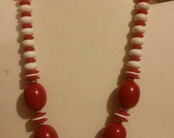 Red and White Monet Beaded Necklace
