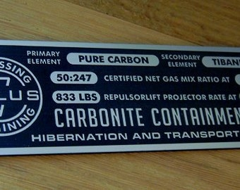 Custom CARBONITE Containment Block Specifications Data Plate STAR WARS Han Solo