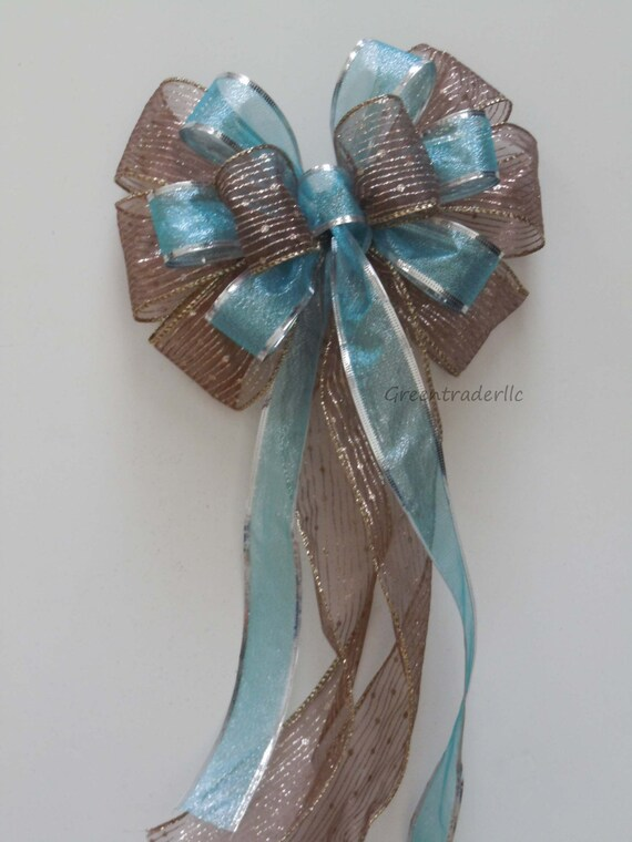 Brown Blue Bow Wedding Pew Bow Brown blue Christmas Tree Topper Wedding pew bow Chocolate Aqua Winter Church Wedding Bow Blue Brown Gift Bow