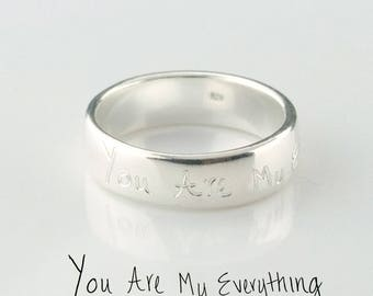 Father's day gift, Actual Handwriting Ring, Men's Ring, Wedding Ring, Sterling Silver Ring, Custom Engraved Fingerprint Band, wide band ring