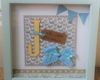 Baby Boy Gift, Personalised Monogram Picture Frame, Nursery Wall Decoration, Blue Booties, Birth Announcement / Christening present