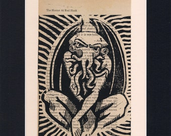 Cthulhu, hp lovecraft, gothic, horror, call of cthulhu, limited run, linocut print, vintage, lino cut, lino print, lovecraft, gothic gift
