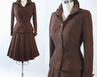 Vintage 40s Cotton Dress Suit Briarbrook Leslie Fay 1940s Pinup Peplum Jacket Full Fit Flare Swing Skirt 2pc Mocha Brown Shantung S Small