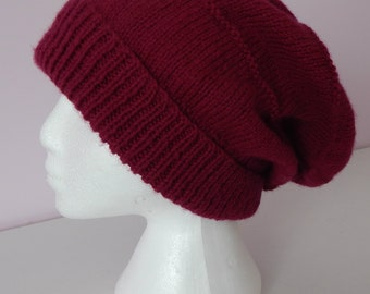 Slouchy Hat/Slouch Beanie/Plum Slouch Hat/Knitted Hat/ Women's Beanie/Slouchy Beanie/Gift for Her