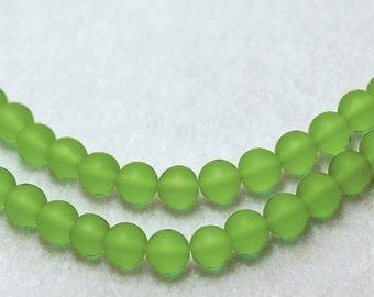 Petite Peridot- recycled sea glass beads- beach glass beads- cultured sea glass beads- round green beads- recycled glass beads