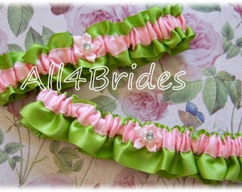 Wedding bridal garter set, lime green and pink bridal accessories, keepsake and toss garters.  Prom garters