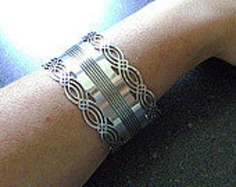 SERENE - Repurposed Vintage Silver Cuff, Wide Arm Band, Bangle, Antique Bangle, Large Cuff, Bracelet, Recycled, Silver Arm Cuff, Bracelet