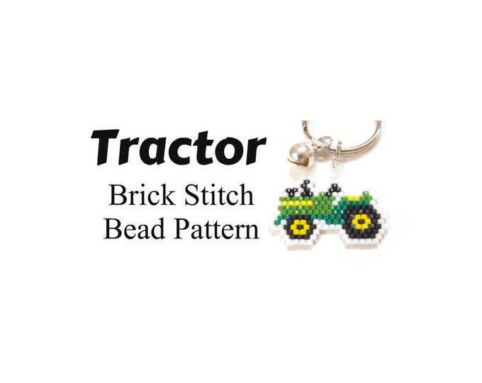 Tractor Seed Bead Pattern, Brick Stitch | JPG DOWNLOAD