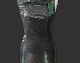 Mini dress disco silver metallic cowl neckline