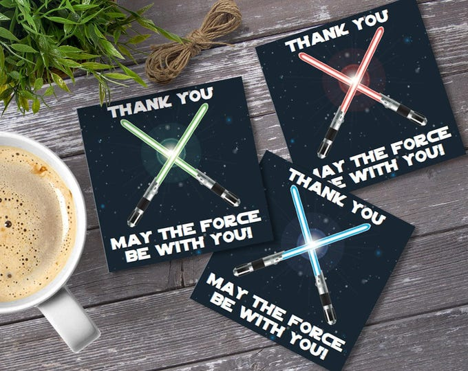 Star Wars Square Favor Tags - Thank You Tags, Birthday Party Favors, Star Wars Birthday | Editable Text - DIY Instant Download PDF Printable
