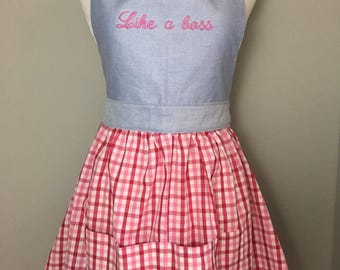 Vintage style apron, christmas apron, new home, like a boss quote, bridal shower gift, bride gift, bachelorette gift, boss lady gift, foodie