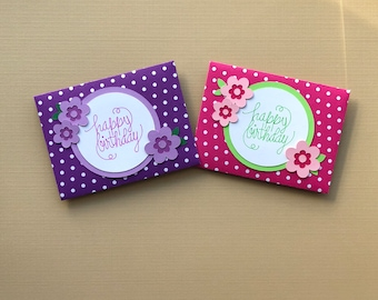 Gift Card Holders, set of 4,  Birthday Gift Card Holders,  Gift Card Holder, Gift Card Holder Birthday, Birthday Card, Handmade Birthday