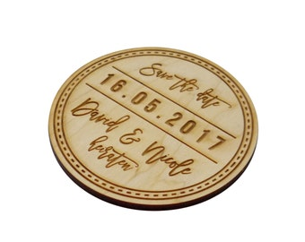 10+ Wooden Save the Date Magnets, Custom Engraved, Round, Rustic Wedding, Country Wedding