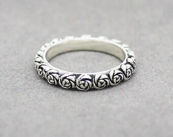 Roses Ring / Oxidized Silver Rose Ring/ Silver flower ring / Bridesmaid ring /Bridesmaid gift /Wedding Ring