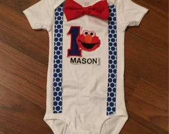 Elmo Personalized Embroidered First birthday, Boys birthday outfit, Baby boy first birthday, Elmo party, Elmo suspenders and bow tie