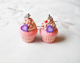 Pink Cupcake Earrings, Cute Earrings, Cupcake, Sweet Lolita, Polymer Clay, Charm Earrings, Food Earrings, Heart, Valentine, Strawberry