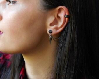 Black ear cuff earrings, Spike ear cuff earrings, Black chain cuff earrings, Spike earrings