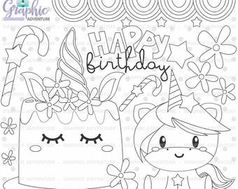 Unicorn Birthday Coloring Coloring Pages