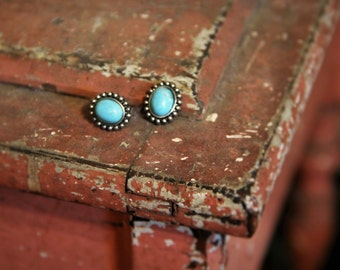 Teal Stone and Silver Metal Stud Earrings!