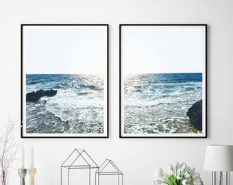 Set Of 2 Ocean Prints, Ocean Art,Printable Art, Beach,  Coastal Decor, Digital Download, Large Poster, Nautical Decor, Waves,  #511