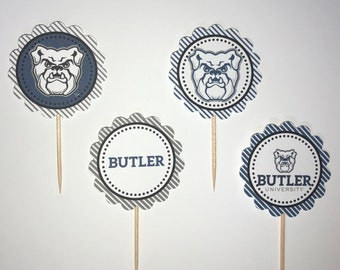 Butler University Bulldogs - 12 cupcake toppers