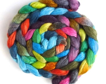 Florescence, Polwarth/Silk 60/40 Roving - Handpainted Spinning or Felting Fiber
