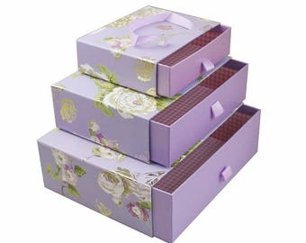 Floral Print Gift Box Lilac - Set of 3