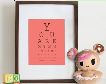 You are my sunshine EYE CHART, Childs name, Birth stats, Song poster, Nursery song print,  Letters, Typography, Love,  Item 069