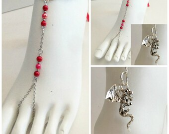 Red DRAGON BAREFOOT SANDALS Bridal Jewelry Barefoot Sandals Wedding Foot Jewelry Anklet Sandals Beach Wedding Inspired by Game of Thrones