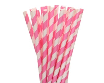 Paper Straws, Hot Pink Striped Paper Straws,  Pink and White Striped Straws, Baby Shower, Gender Reveal Party Supplies, Girl 1st Birthday