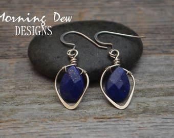 Sterling Silver & Lapis Lazuli Gemstone Briolette Teardrop Earrings