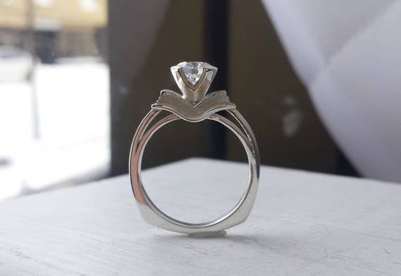 Book Engagement Ring Silver and Moissanite Sapphire
