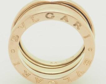 BVLGARI Jewelry Solid 18K Rose Gold B.Zero1 3-Row Ring Euro Size 50; US Size 5; sku # 4860
