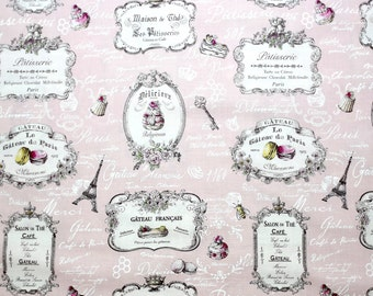 Japanese Fabric Paris Macaron Mangeons En Gateau Cotton - Pink - fat quarter