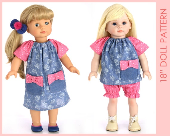 DRESS girl doll clothes pattern, 18 inch doll clothes sewing pattern ...