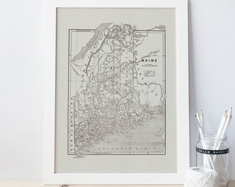 VINTAGE MAINE MAP - Vintage Maine Wall Art, Antique Maine Poster, Professional Reproduction, Minimalist Map