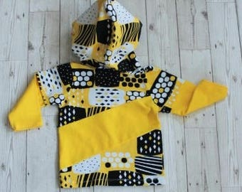 Hooded Top....Yellow Colour Block Front