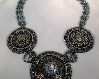 Medallion Necklace Crystal Neck strap
