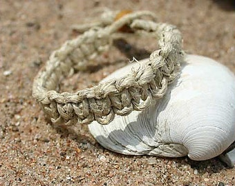 Surfer Phatty Thick Hemp Flat Knot Bracelet or Anklet