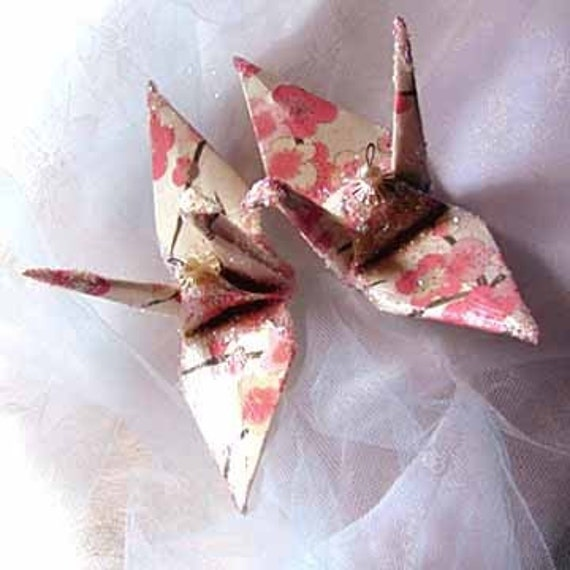 sakura peace crane bird wedding cake topper party favor