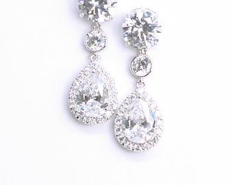 Bridal Earrings Cubic Zirconia Pear Drop Best Bridal Earrings
