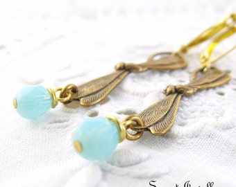 Sale Item - Dragonfly Earrings, Insect Jewelry, Neo Victorian Jewelry, Nature Inspired Jewelry, Pastel Blue Beaded Dangle Earrings