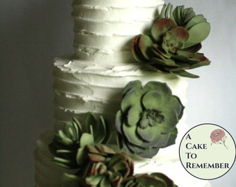 12 Wedding succulents cake topper set, edible succulent for cakes.  Desert wedding sugar flowers,  DIY wedding cakes, rustic wedding cake