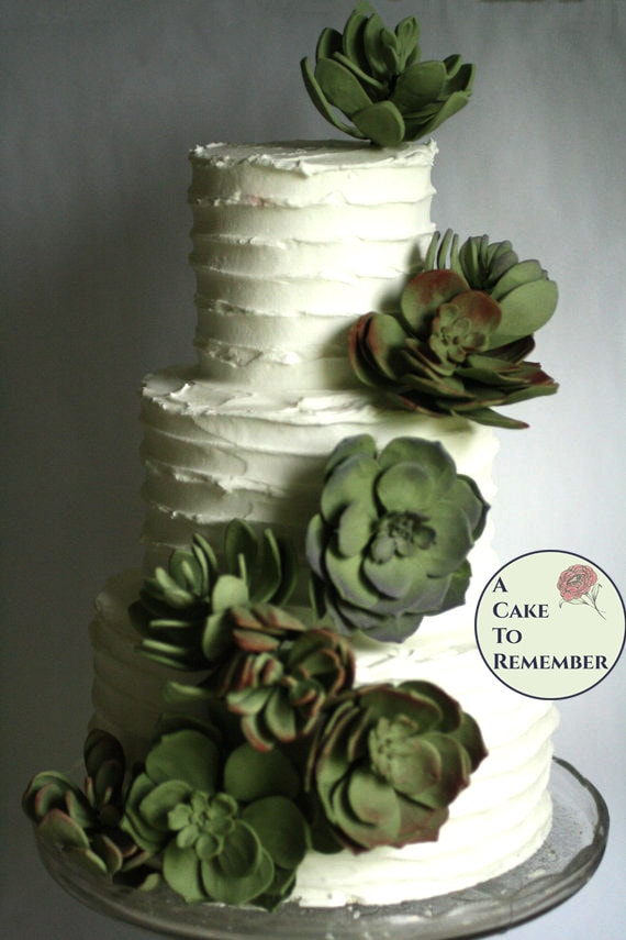 12 Wedding succulents cake topper set edible succulent for