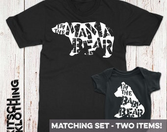 Mama Bear Baby Bear Mothers Day Gift Set Matching Family TShirt Set Mother Son Tshirts Shirt Set Gift for Mom Newborn Baby Bodysuit AR-88-89