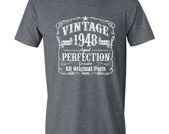70th Birthday, Gift For Man, Seventieth Birthday, Born In 1948, Vintage, Grandfather Birthday, GRAY, 1948, 70th Birthday T Shirt