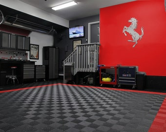 """Ferrari Cavallino Rampante """"Prancing Horse"""" Garage Sign 4 feet tall Brushed Silver"""