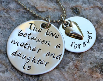 Hand Stamped Mother Daughter Necklace, the love between mother and daughter is forever
