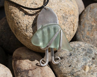Silver Plated Fork & Tumbled Glass Necklace NL039